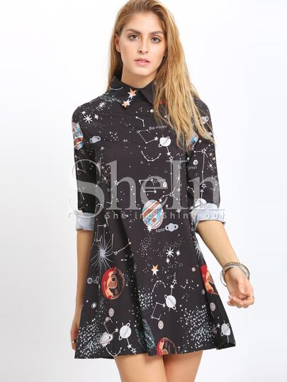 Black Planet Print Shift Dress