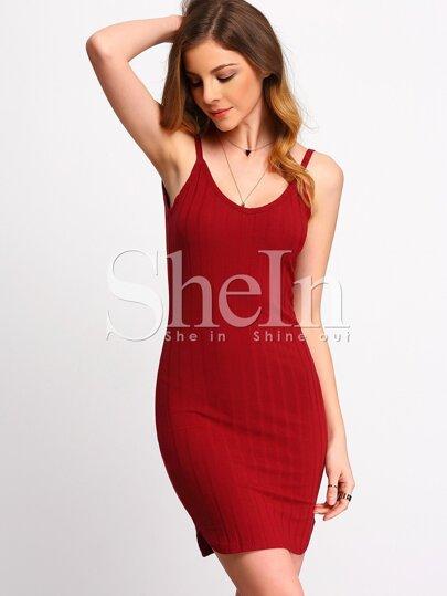 Bodycon Kleid mit Spaghettiträger - dunkel rot