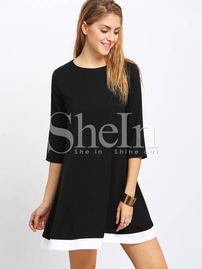 Black Contrast Hem Shift Dress