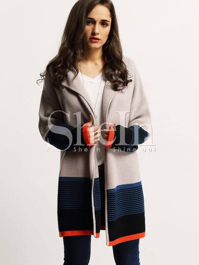 Cardigan color-block -beige