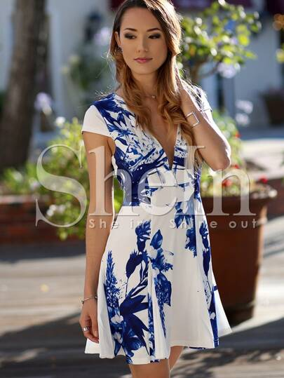 White Cap Sleeve V Neck Underskirt Floral Print Dress