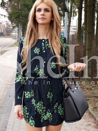 Dark Green Challis Long Sleeve Designers Floral Pockets Dress