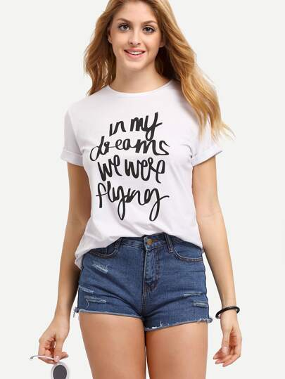 Letter Print In White Round Neck t-shirt