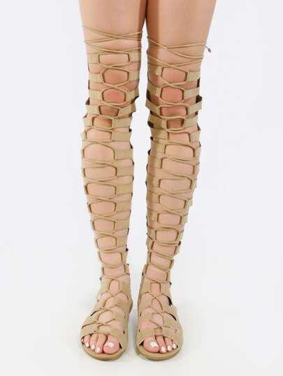 Sandalias cordón gladiator -nude