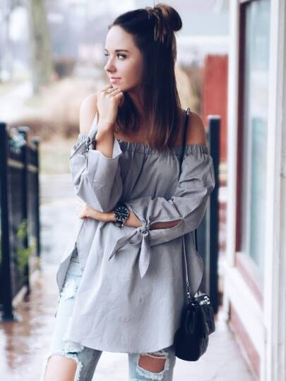 Grey Long Sleeve Off The Shoulder Knotted Blouse