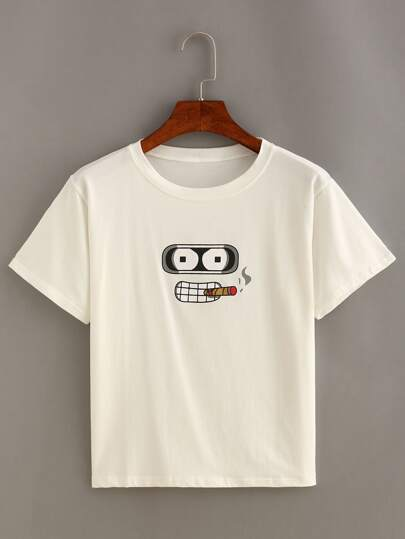 Cartoon Print Short Sleeve T-shirt