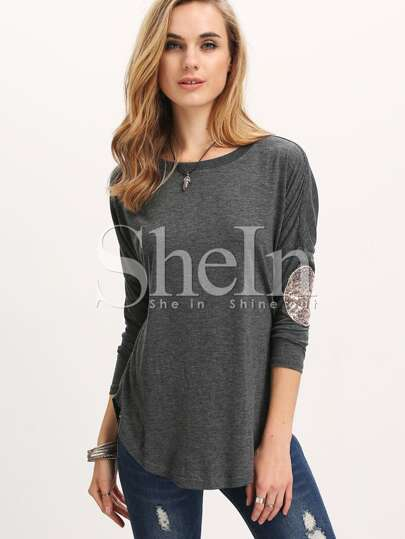 Grey Long Sleeve Sequined T-Shirt