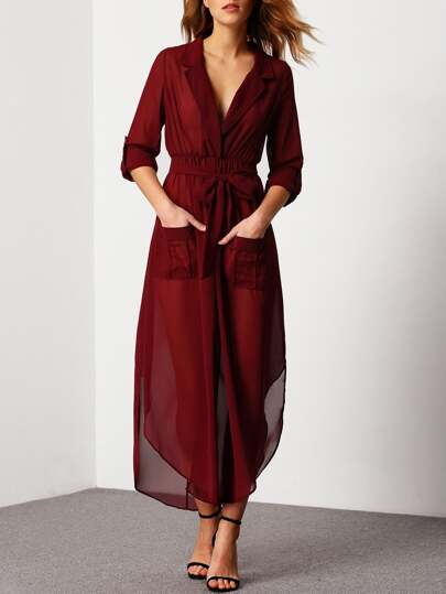 Plunging V-Neckline Self-Tie Pockets Chiffon Dress