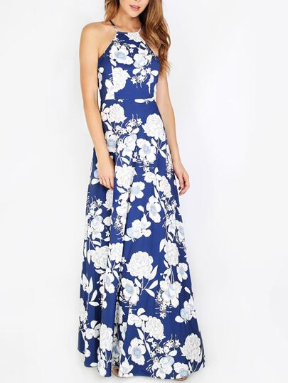 Blu Scollo all'americana stampa floreale Dress Maxi