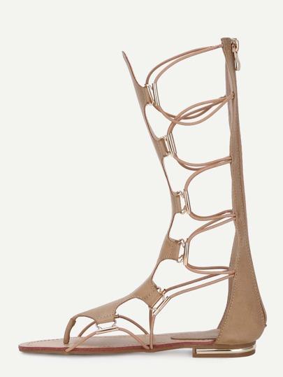 Sandalias suede cordón -kaki