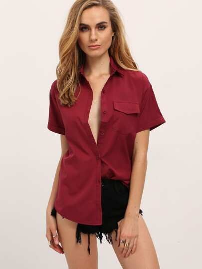 Red Lapel Short Sleeve Pocket Blouse