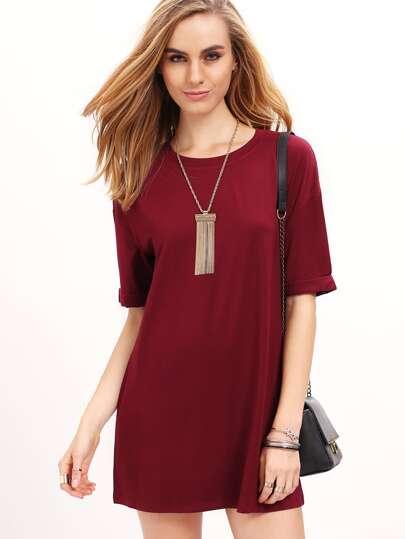 Wine Red Half Sleeve Round Neck Casual Dress