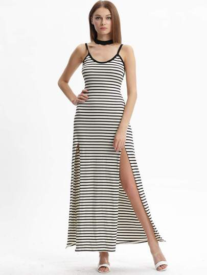 Black White Stripe Split Spaghetti Strap Dress Maxi Dress