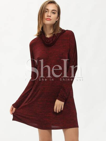 Burgundy Long Sleeve Turtleneck Casual Dress