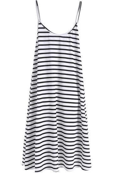 Black White Beachdresses Spaghetti Strap Striped Loose Dress