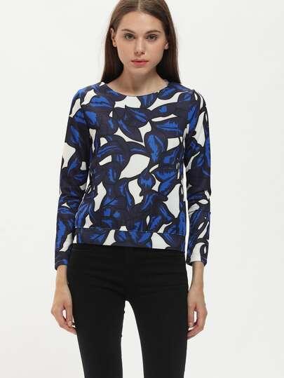 Round Neck Leaves Print Sweatshirt