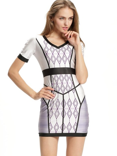 V Neck Diamond Print Bodycon Dress
