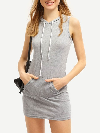 Grey Drawstring Hooded Pockets Bodycon Dress