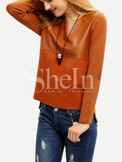 Camel PU Leather Color Block T-Shirt