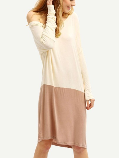 Apricot Color Block Casual Dress