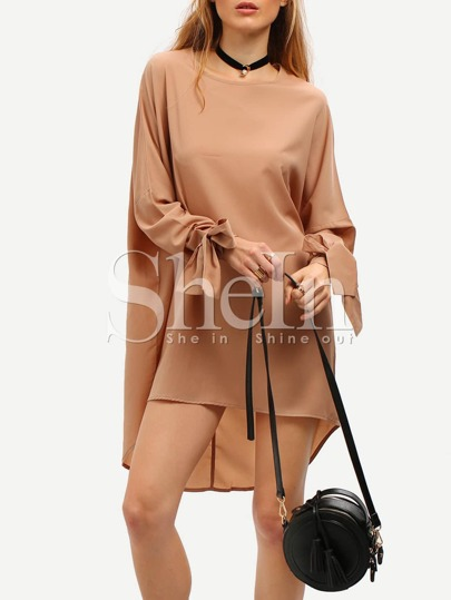Camel Long Sleeve Loose Dress