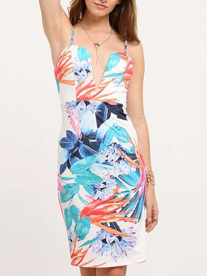 Multicolor Print Spaghetti Strap Sheath Dress