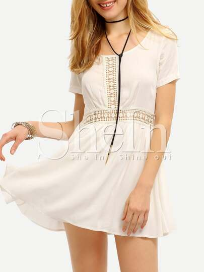 White Short Sleeve Lace Insert Dress