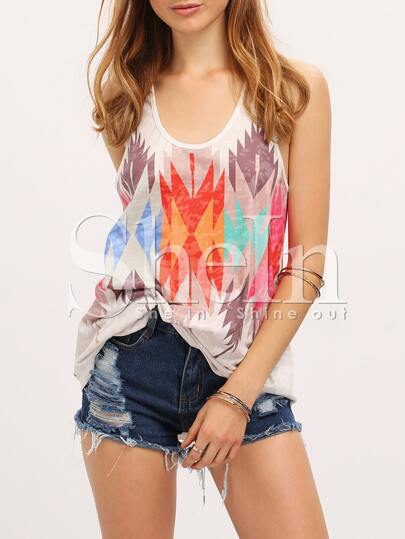 Multicolor Tank Neck Digital Placement Print Casual Tank Top