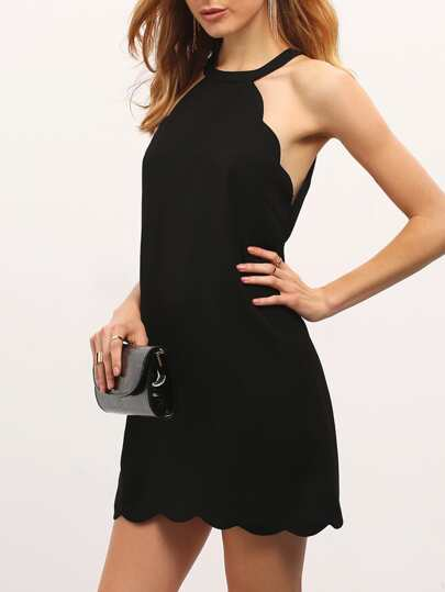 Black Scallop Trim Cutaway Shift Dress