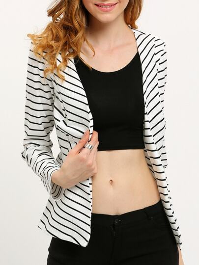White Long Sleeve Striped Fitted Blazer