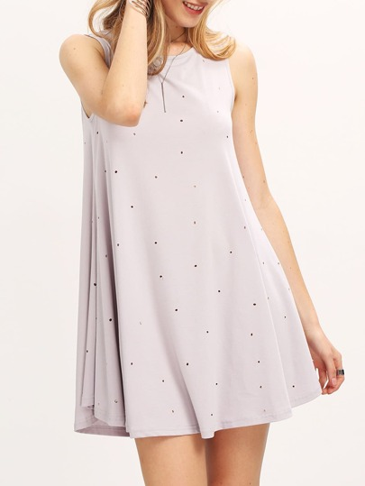 Grey Destroyed Hole Sleeveless Shift Dress