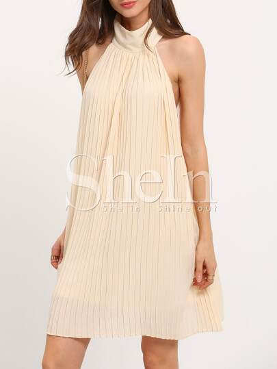 Apricot Sleeveless Exposed Zipper Back Halter Dress