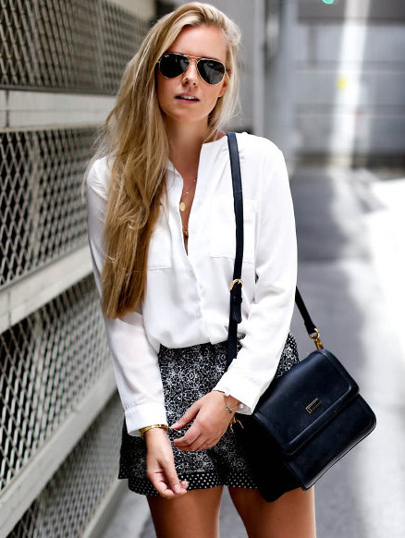White V Neck With Pocket Chiffon Blouse