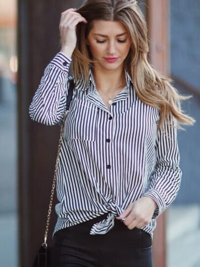 Black Lapel Vertical Striped Blouse