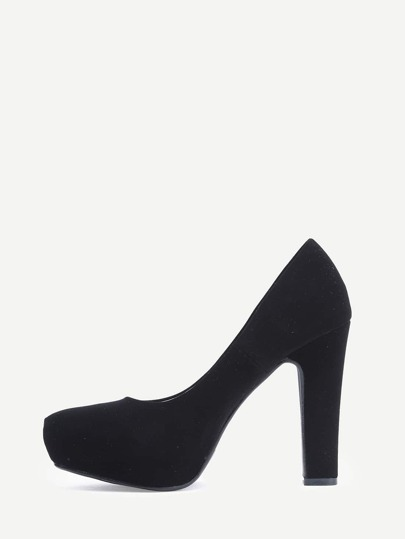 Black Faux Suede Thick Heel Platform Pumps