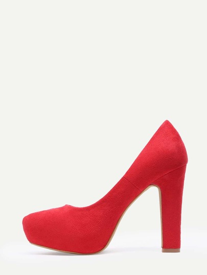 Red Faux Suede Thick Heel Platform Pumps