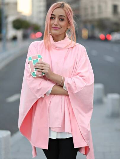 Pink Asymmetric Cape Coat