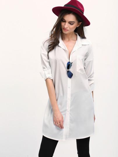 White Lapel Long Sleeve Pocket Casual Blouse