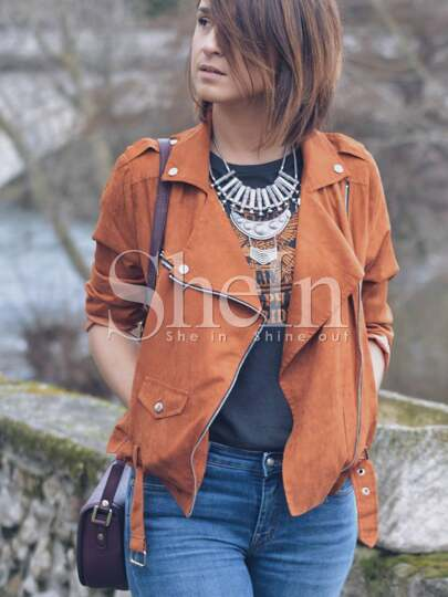 Moto Zip Jacket With Buckle Belt Hem