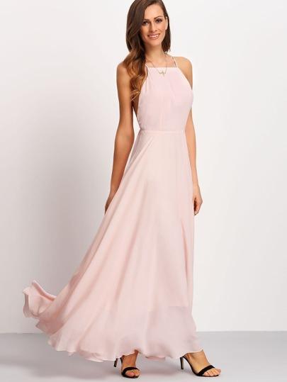 Vestido tirante espalda cruzada maxi -rosa