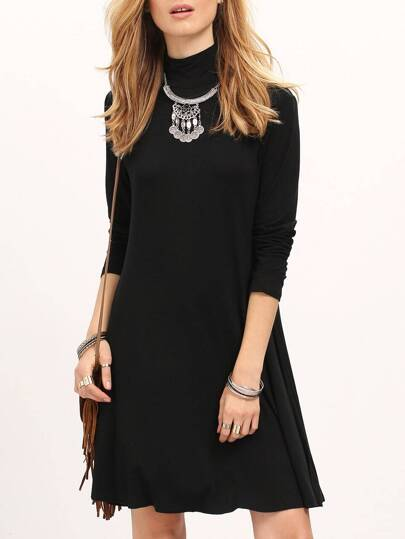 Black Long Sleeve Turtleneck Flare Dress