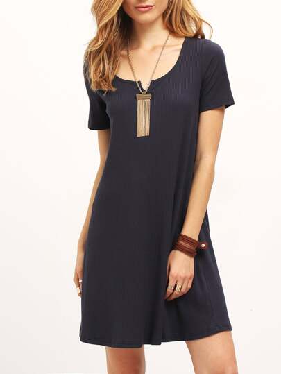 Navy Short Sleeve Loose Casual Dress