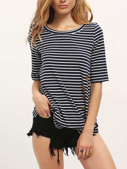 Blue White Stripe Buttons Irregular Hem T-shirt