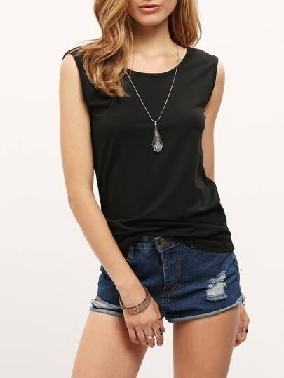 Black Sleeveless Backless Slim T-shirt