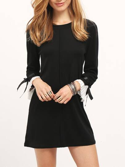 Black Boat Neck Bell Sleeve Shift Dress