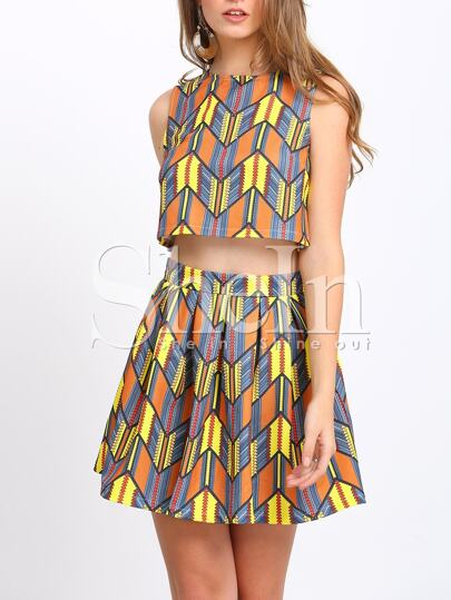 Top estampado con falda -multicolor