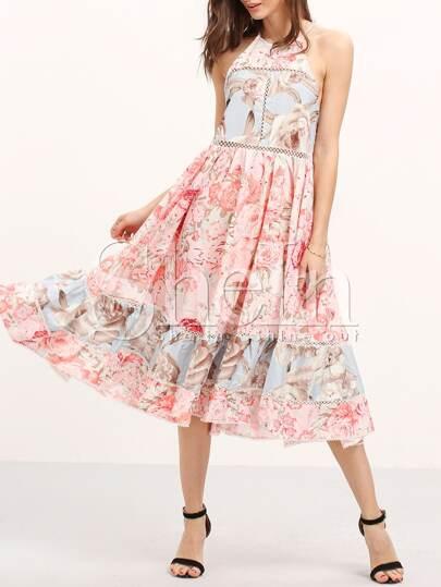 Multicolor Print Ruffle Hem Flare Midi Dress