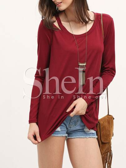 Open Shoulder Long Sleeve Burgundy T-shirt