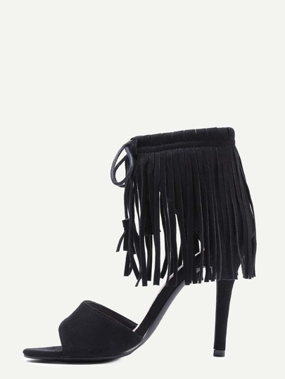 Open Toe Fringe Ankle Cuff Sandals - Black