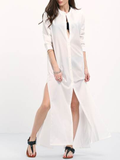 Vestido abertura camisero -blanco